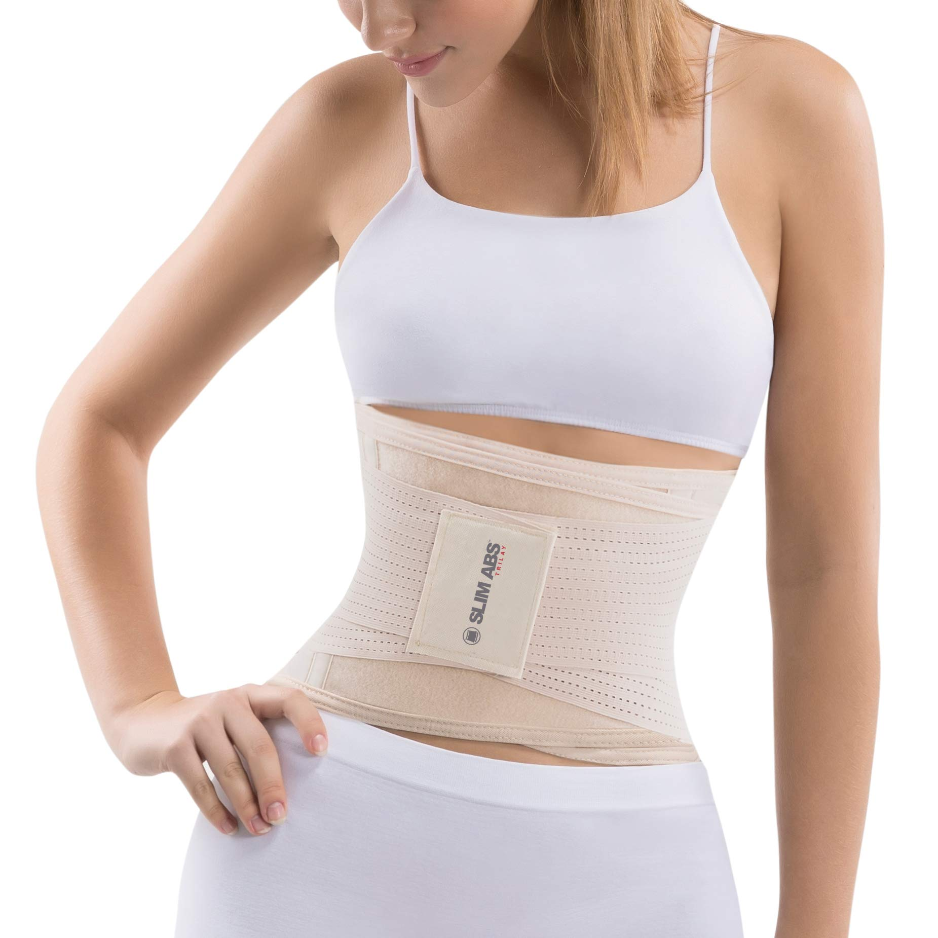 Slim Abs Waist Trainer Corset Belt with Slimming Cream - Waist Trimmer for Women and Thermogenic Workout Sweat Gel (Beige, S/M) by Slim Abs Trilay (Image #3)