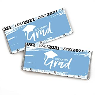 product image for Big Dot of Happiness Light Blue Grad - Best is Yet to Come - Candy Bar Wrapper Light Blue 2021 Graduation Party Favors - Set of 24