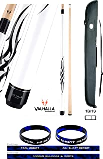 product image for Valhalla VA203 by Viking 2 Piece Pool Cue Stick White Tribal Monochromatic HD Graphic Transfers 18-21 oz. Plus Cue Case & Bracelet (White VA203, 19)
