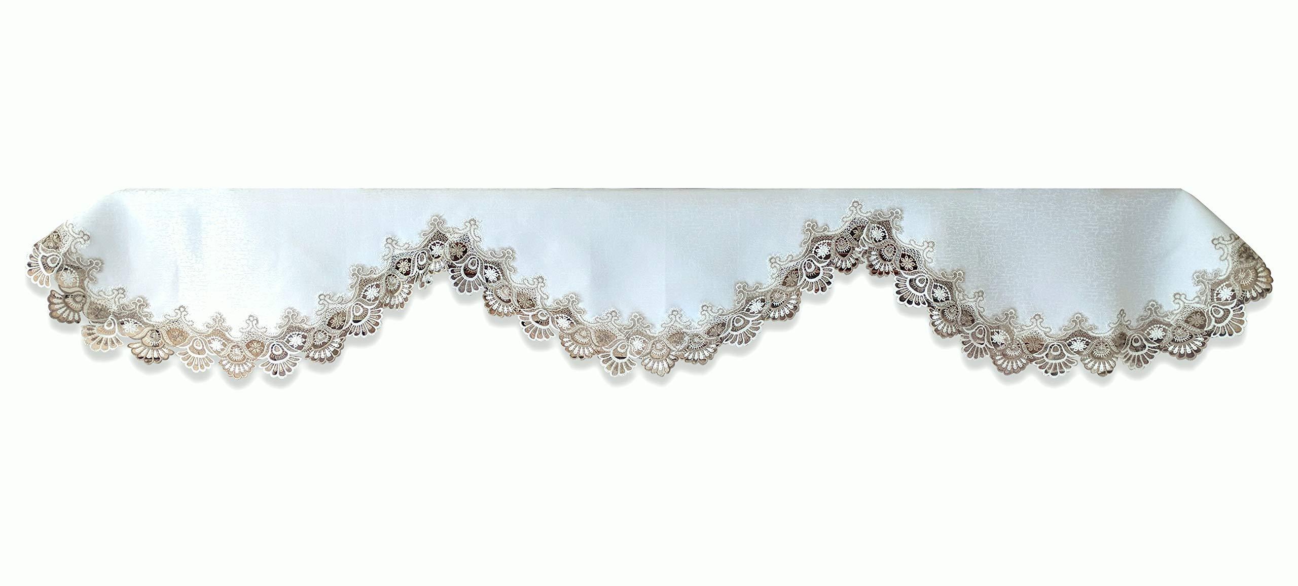 Galleria di Giovanni Mantel Shelf Scarf Taupe Lace Antique White 90 Inch Earth Tones Mantle Doily by Galleria di Giovanni