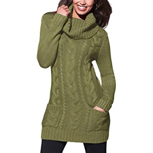 9d2eda3fed5 Sidefeel Women Asymmetric Buttoned Cable Knit Bodycon Mini Sweater Dress  Jumper