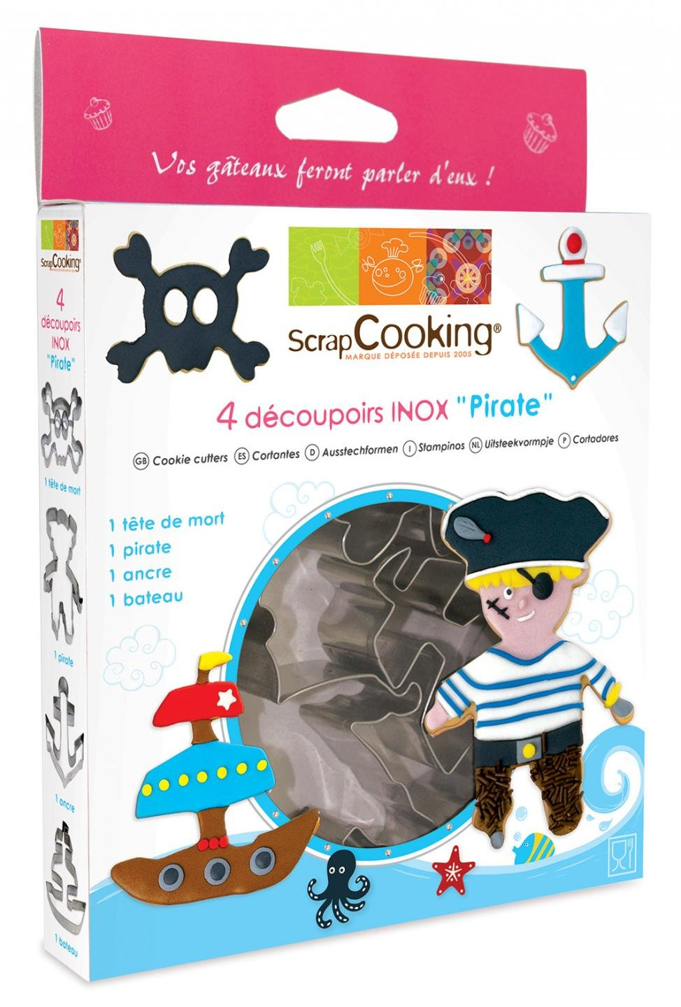 ScrapCooking Pirate Cutters, Stainless Steel, Box of 4