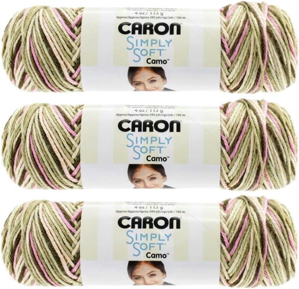 4 oz. Snow Camo #11005 Caron Simply Soft Camo Yarn Lot Of 3 Skeins