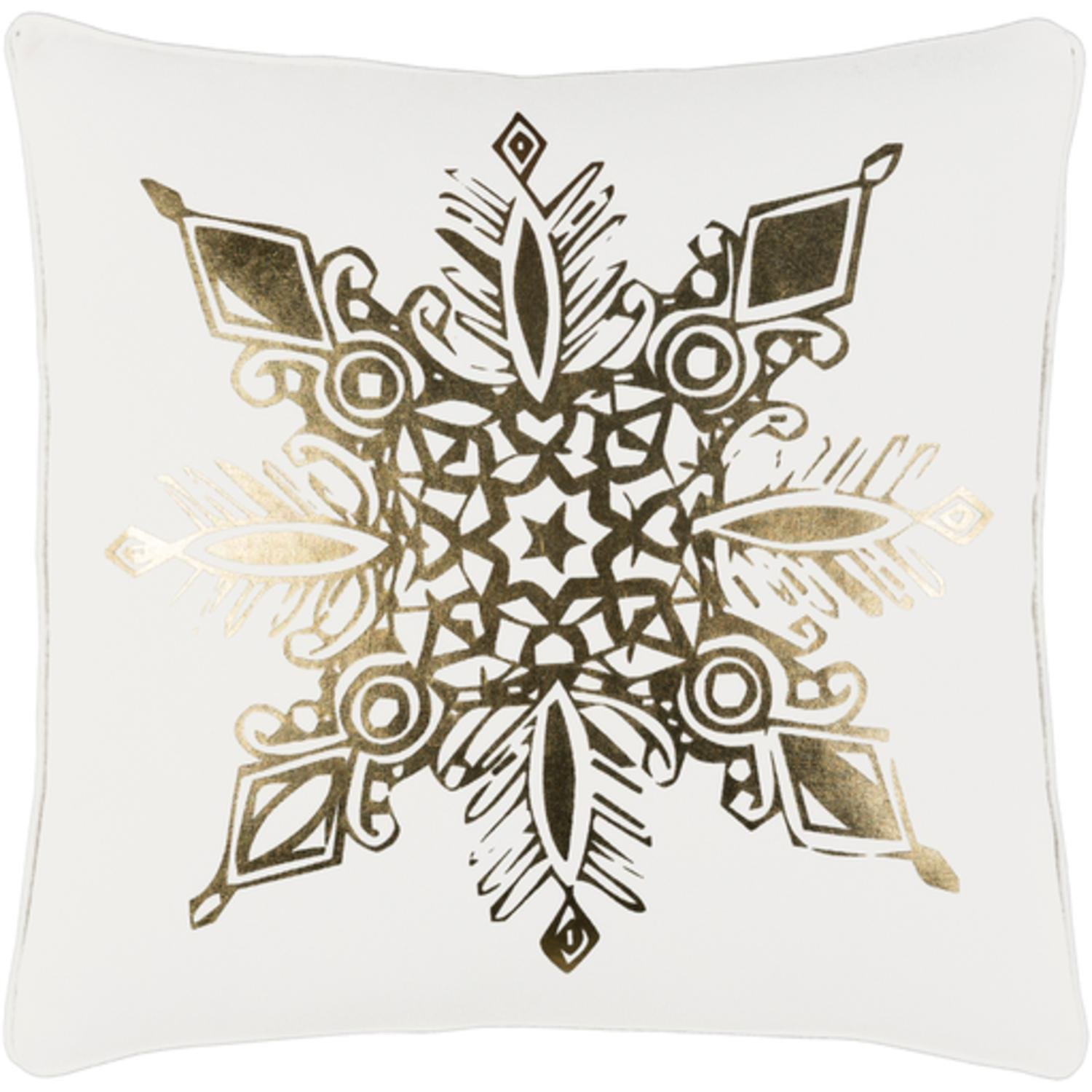 """18"""" Snow White and Rich Gold Decorative Geometric Snowflake Holiday Throw Pillow –Down Filler"""