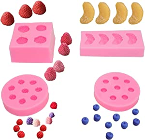 4pcs/set Fruit Shaped Jelly Molds 3d Strawberry, Orange,Raspberry & Blueberry Silicone Fondant Molds Soap Embed Molds Wax Embeds,Wax Melts Molds,Candy Mold for Cake Cupcake Topper Decoration