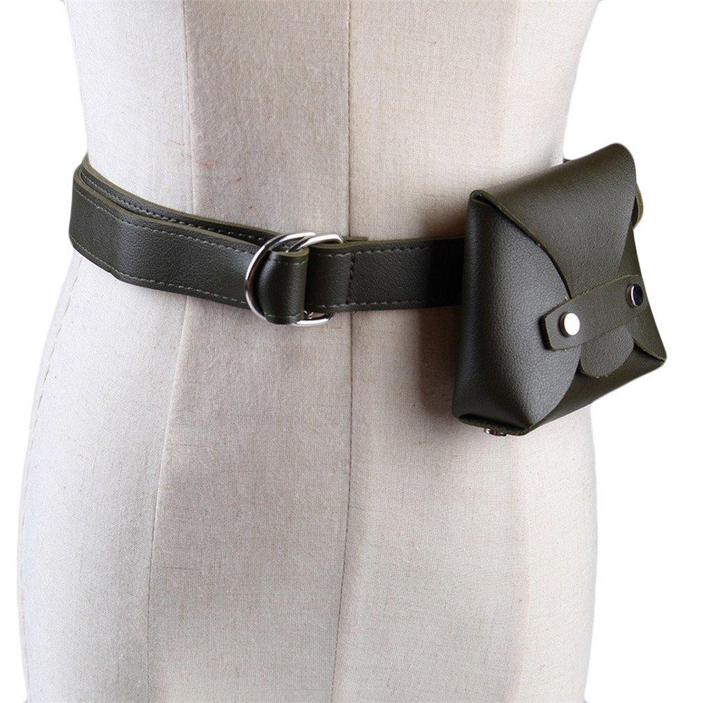 BAGGY Vintage Belt Bag Women Casual Fashion Dress Leather Belt Bag Wallet Fanny Waist Bag Army Green