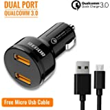 Regor Qualcomm Certified,Quick Charge 3.0,Dual Port 36Watt Car Charger + Free Micro USB Cable