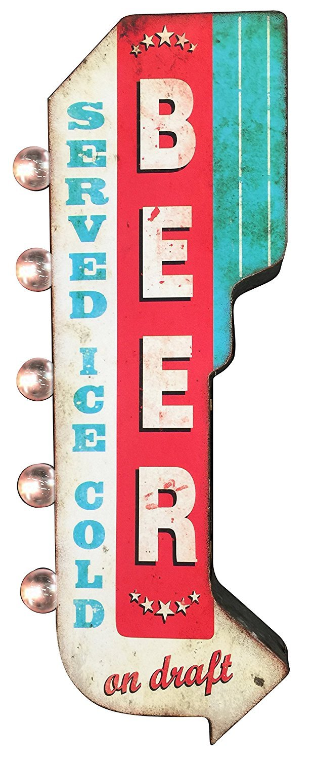 Beer on Draft Reproduction Vintage Advertising Sign - Battery Powered LED Lights, Double Sided Metal Wall Mounted - 25 x 10 x 4 inches by SOTT