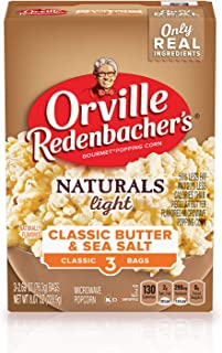 product image for Orville Redenbacher's Naturals Light Classic Butter & Sea Salt Microwave Popcorn, 2.69 Ounce Classic Bag, 3-Count