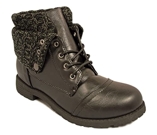 Charles Albert Womens Lace Up Combat Folded Sweater Cuff Boot