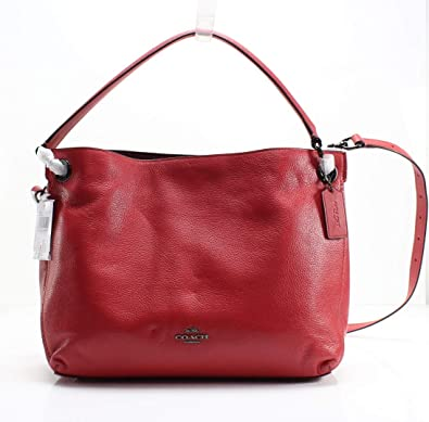 bad031341f74 COACH Women s Polished Pebble Leather Clarkson Hobo Dk Washed Red One Size