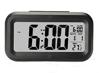 DAN&DLAM Reloj de Alarma Digital, Reloj Despertador con Batería con Luz Ajustable, Cama Ultra