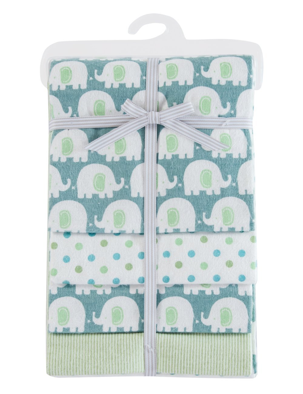 PHF 100% Cotton Flannel Receiving Blankets Warm for Winter Unisex 30'' x 40'' Green 4 Count