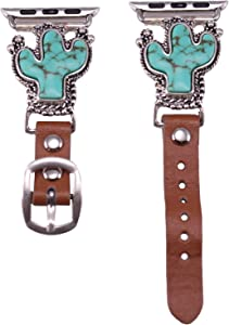 Wonderent 40mm/38mm Compatible for Apple Watch, Delicate Western Turquoise Cactus Watch Band No. 5