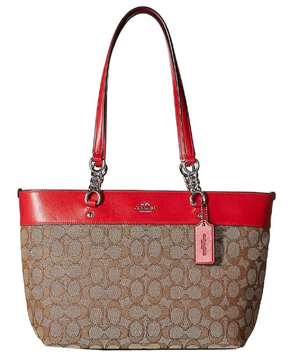 9bc349bb69 Amazon.com: COACH Womens Signature Small Sophia Tote SV/Khaki/True Red Tote:  Shoes