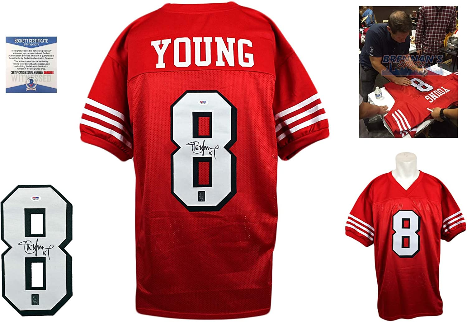 Steve Young Signed Custom Jersey - Beckett - Autographed w/ Photo - TB