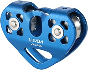 Lixada Zip Line Pulley Tandem Speed Dual Trolley 30kN Rescue Climbing Dual Pulley with Ball Bearing Rock/20KN Single Pulley Aluminum Fixed Eye Climbing Pulley