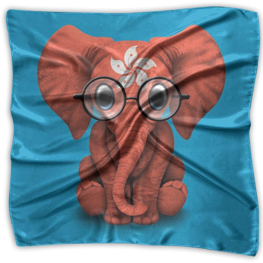Baby Elephant Glasses Hong Kong Flag Women's Square Scarf Headdress Fashion Neckerchief