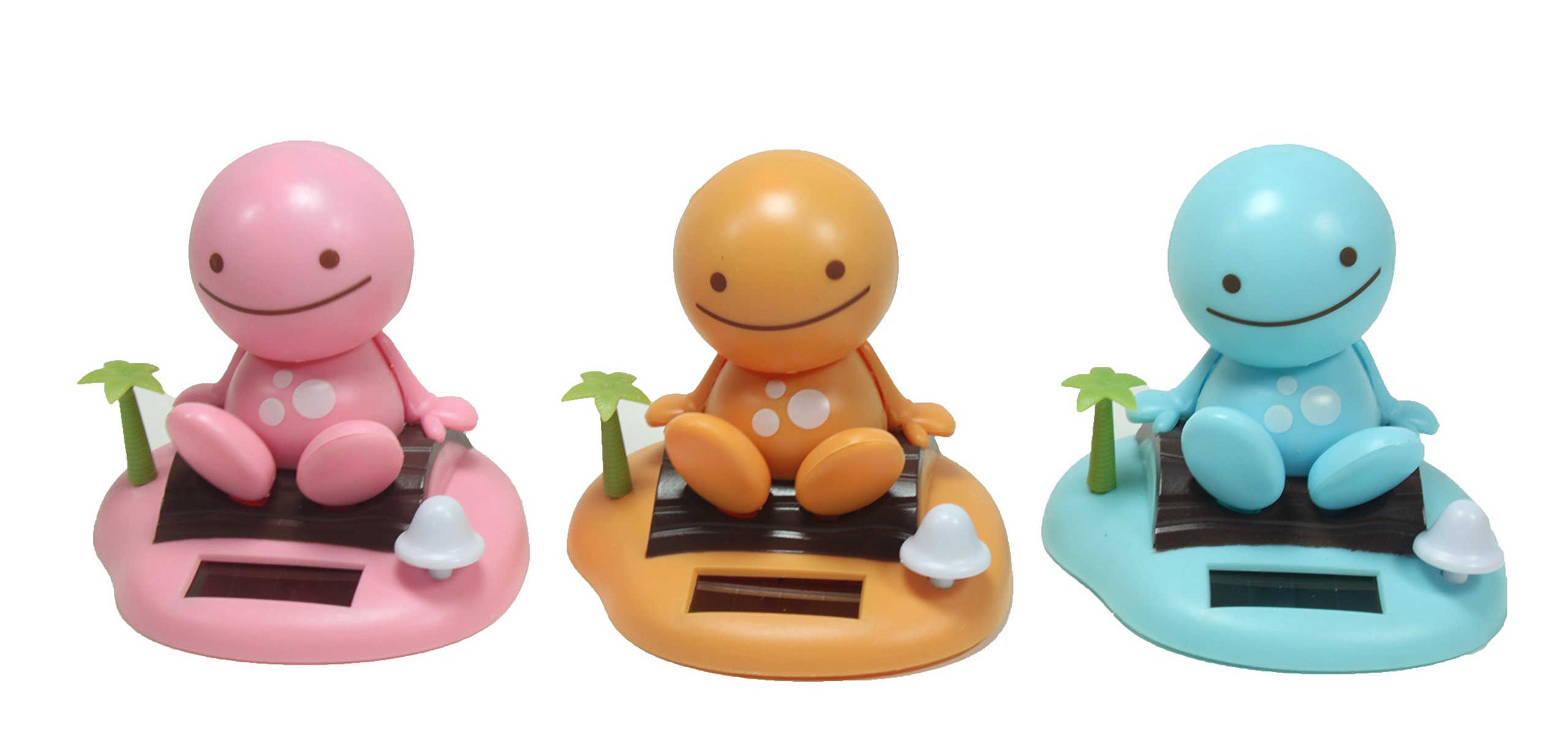 Adorable ~ Smiling Happy Face ~ 1 Blue + 1 Yellow / Orange 1 Pink Sunny Doll on a Beach Island ~ Solar Toy Perfect Home Car Decor