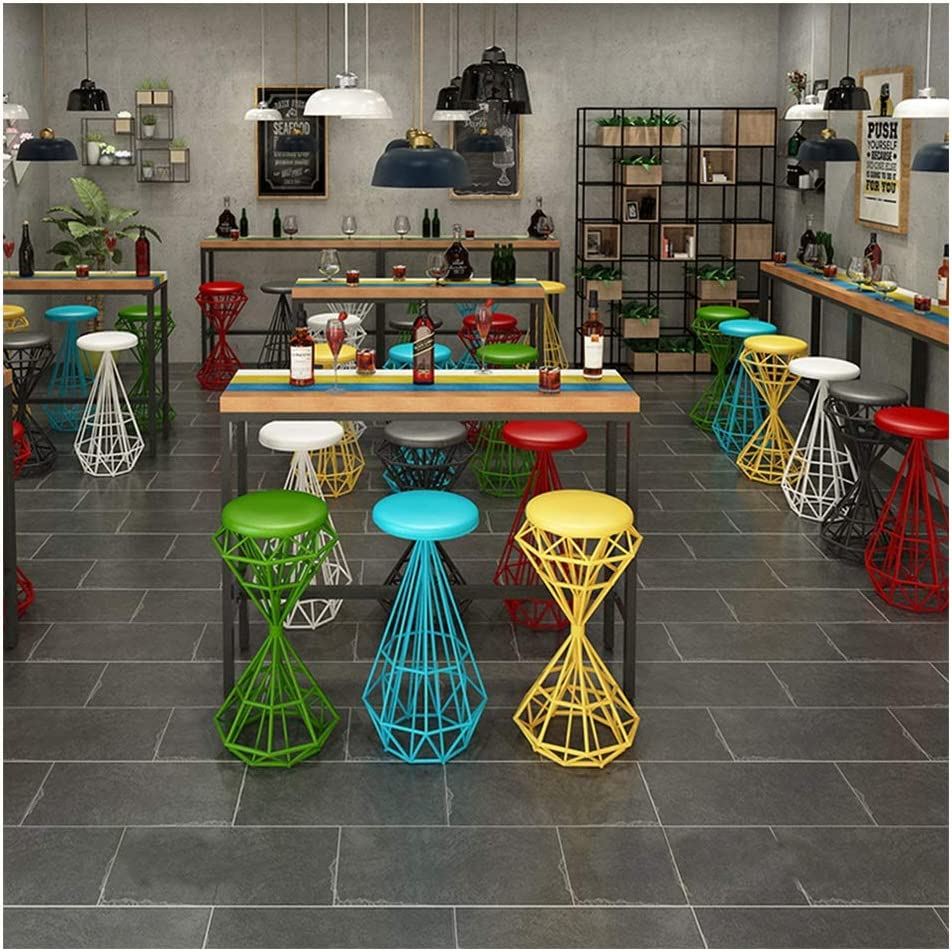 Barkrukken, Creatieve Gegalvaniseerde Ijzeren Frame Barkruk Met PU-kussen Voor Ontbijtbar, Aanrecht, Keuken En Thuis Barkrukken P-3.24 (Color : Style-F) Style-M