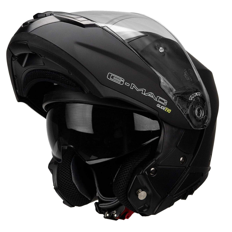 Casco de moto con tapa frontal G-Mac Glide Evo color negro satinado