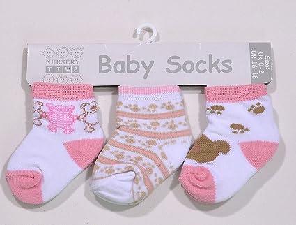 Pack de tres pares de calcetines bebe niña 0 – 3 meses rosa/Multi