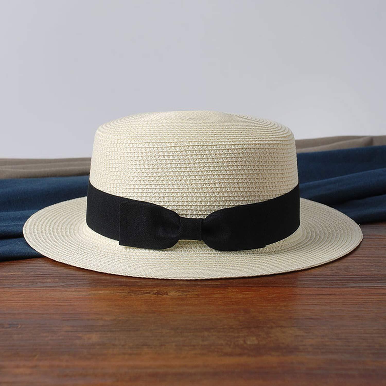 2019 Simple Summer Parent-Child Beach Hat Female Casual Panama Hat Lady Women Flat Brim Bowknot Straw Cap