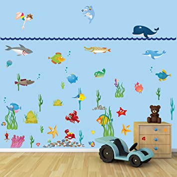 Large Underwater Sea World Full Colour Wall Stickers For Kids - Underwater wall decals