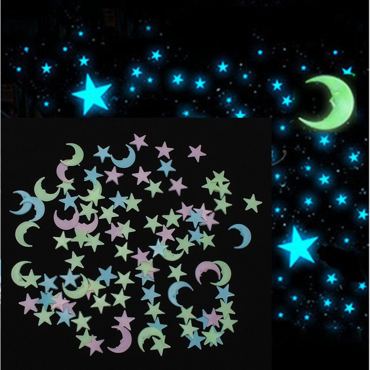 Buy stickonn multi colour fluorescent glow in the dark moon star wall stickersize 2 5 x 2 5 cm pack of 30 online at low prices in india amazon in