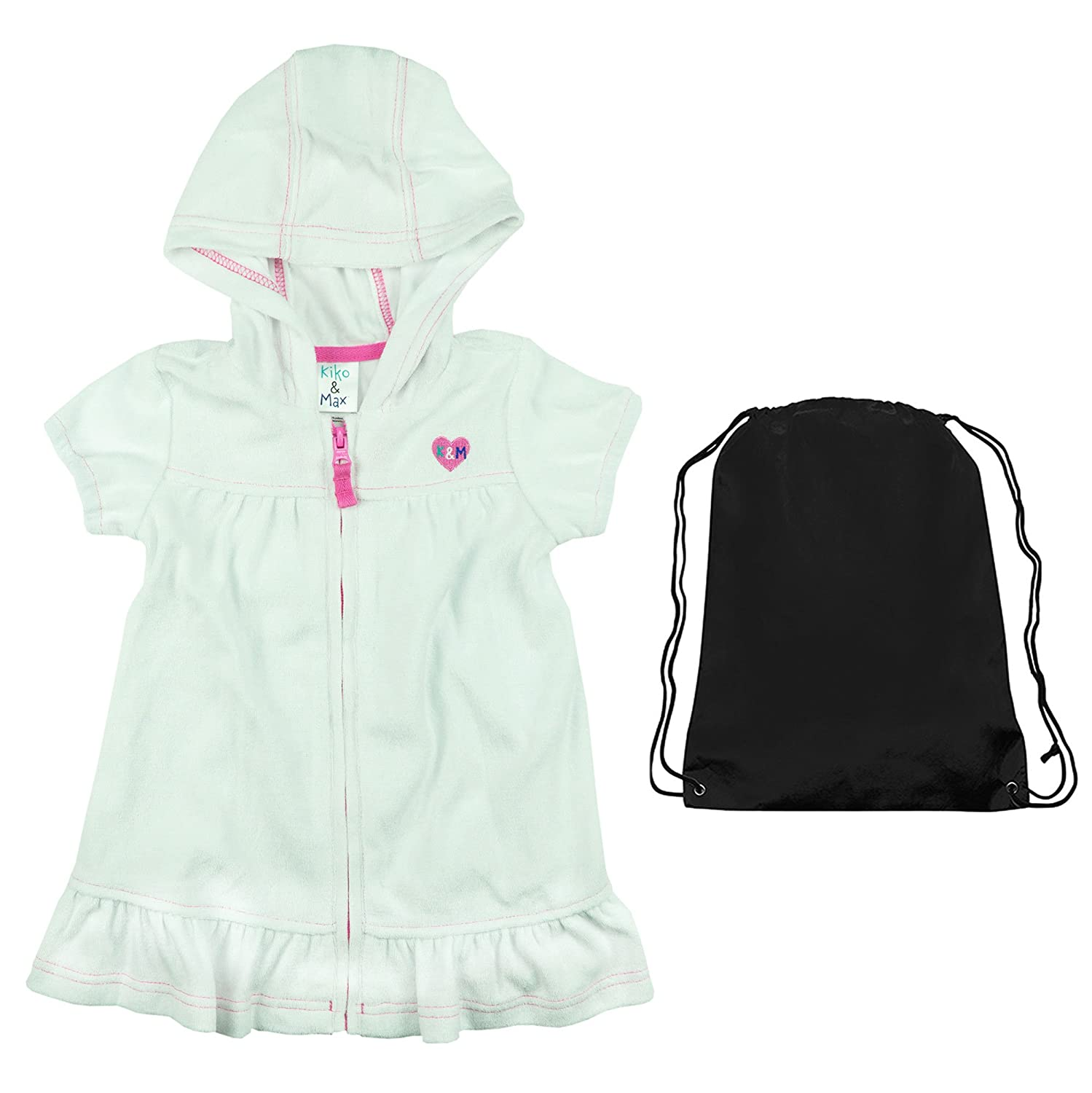 7e9c6f945d2c3 Amazon.com: Kiko & Max Infant Girls Swimwear Terry Beach Cover Up White  with Beach Bag 24 Months: Clothing