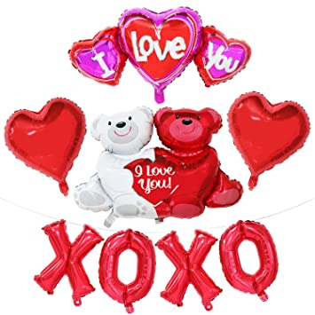 Amazon Com Valentines Day Decorations Red Balloon Set Xoxo