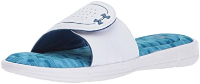 online store 84cf4 a2668 Under Armour Women s Ignite VIII Edge Slide Sandal, White (103) Canoe Blue
