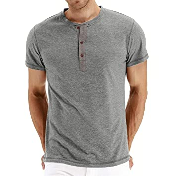 d1e1c4b63b Amazon.com: Snowfoller Men's Short Sleeve Henley T-Shirts Tech Polo ...