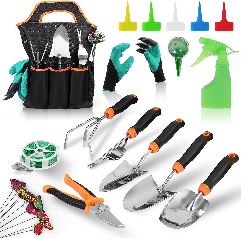 COMOWARE 50pcs Heavy Duty Garden Tools Set for Women Men- Stainless Steel Gardening Tools Set with Storage Bag, Non-Slip Rubber Grip, Outdoor Hand Tools, Gift for Gardeners