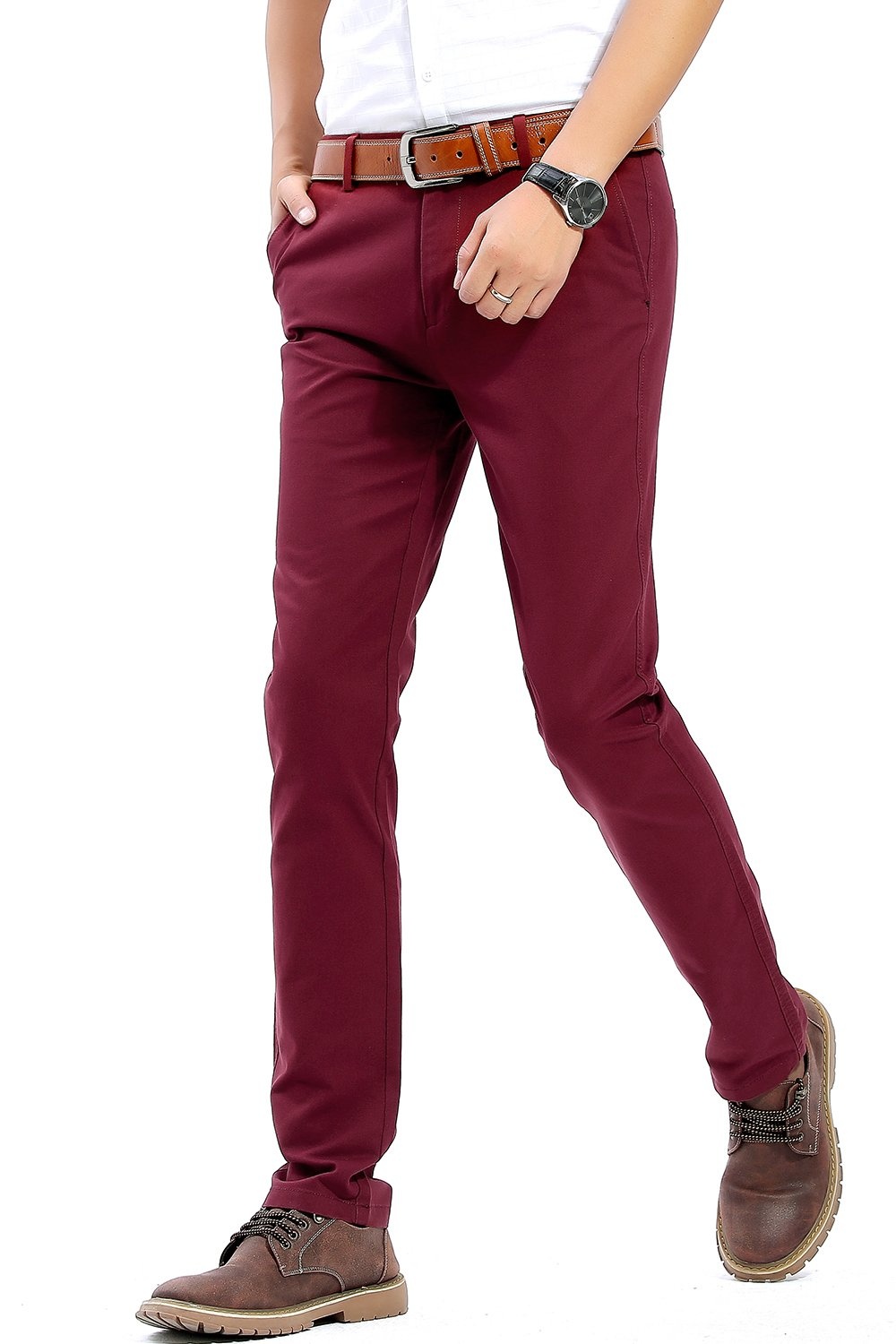 Harrms Business Casual Pants for Mens, Wine Red Slim Fit Trousers Pants, Size 29x30