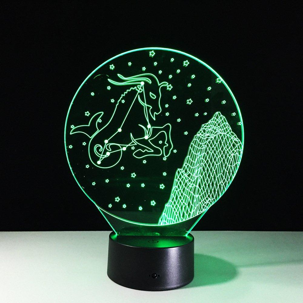 Lámpara de mesa Illusion 3-D Lámpara de noche con toque colorido ...