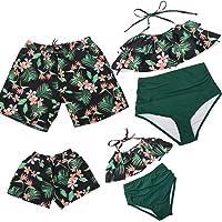 Hulaha Family Matching Swimsuit Mens Summer Shorts Boy Beach Shorts Girls Swimwear Womens Printed Bathingsuit