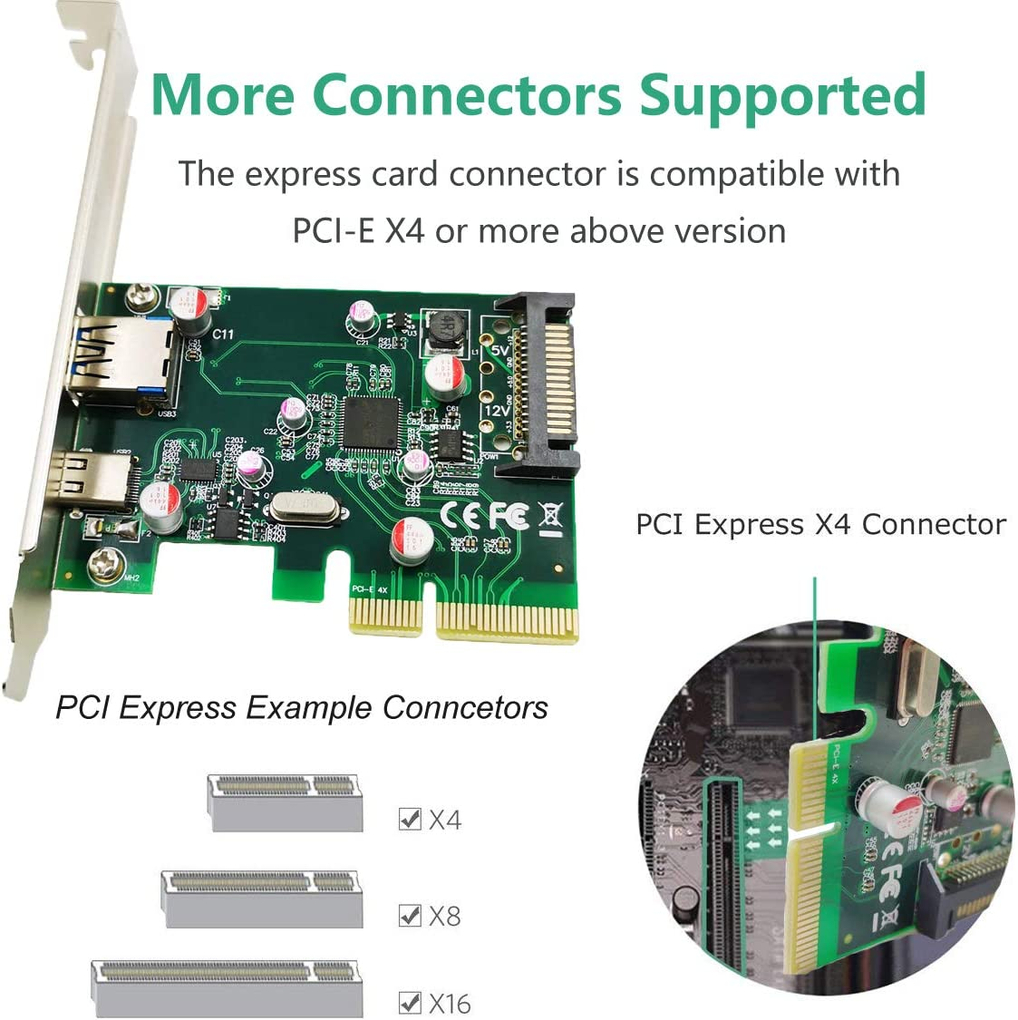 PCI-E to USB 3.1 PCI Express Card Support Type A Type C Ports USB 3.1 Gen 2 SuperSpeed 10Gbps with 15-Pin SATA Power Connector for Windows 7//8//8.1//10