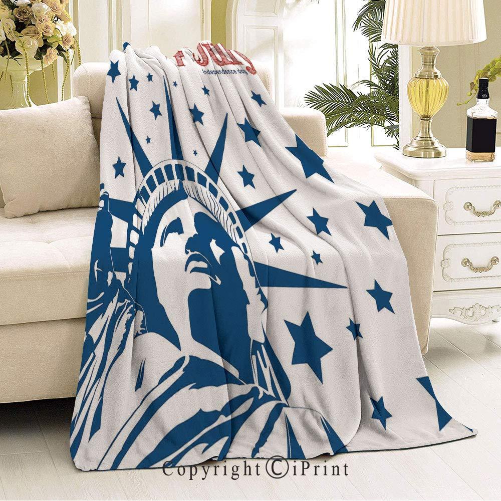 Flannel Fleece Microfiber Blanket,Living Room//Bedroom Warm Blanket,51 Wx59 L Patchwork Style American Stars and Stripes Cute Kids Baby Pride Pattern Ruby Blue