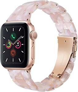 Wongeto Band Compatible with Apple Watch Band 38mm 40mm Series 6 SE/ 5/4/3/2/1 Women Men with Stainless Steel Buckle, Fashion Resin iWatch Replacement Wristband Strap (Flower Pink, 38mm/40mm)