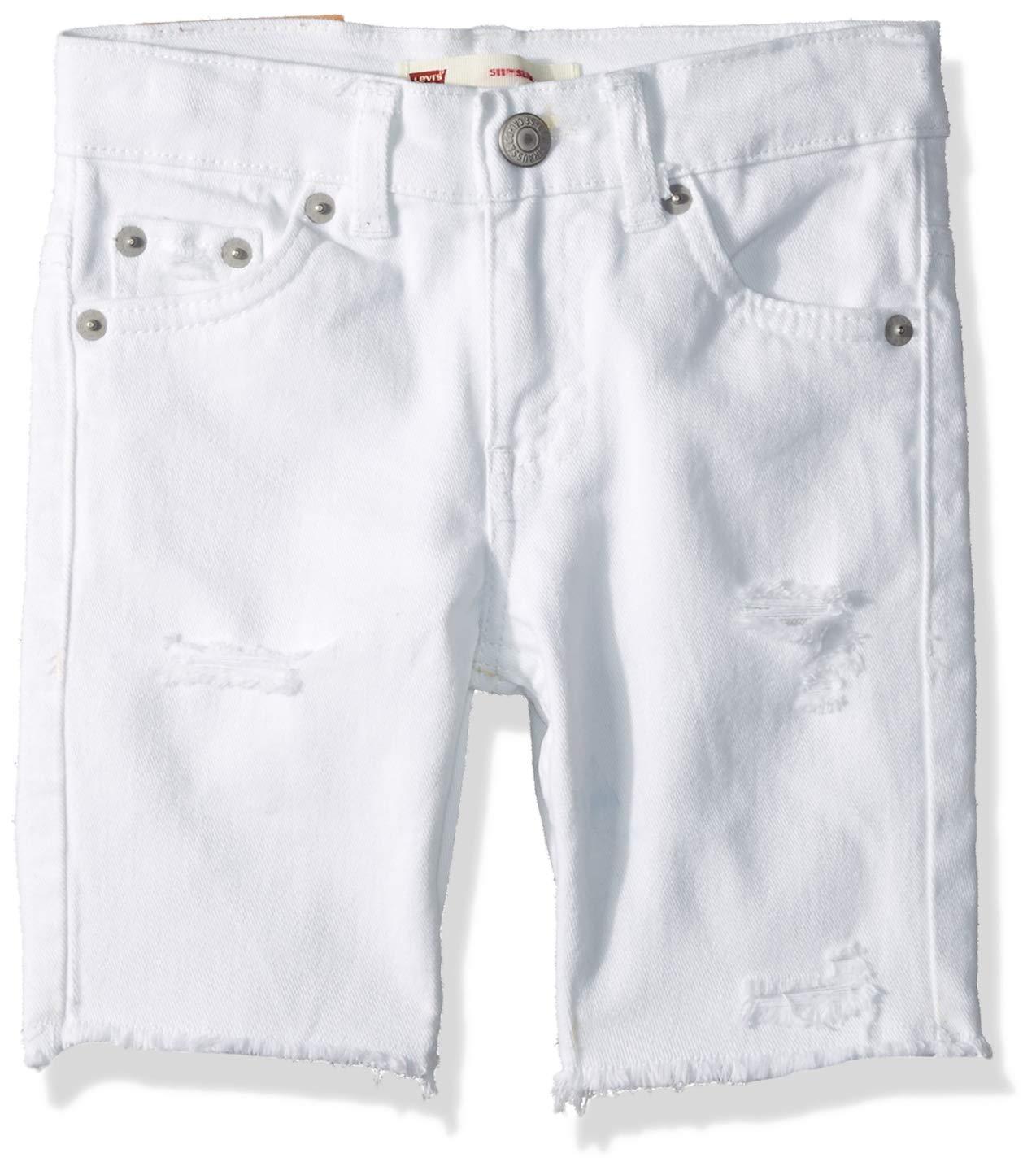 Levi's Boys' Little 511 Slim Fit Denim Shorts, White Schools Out, 5