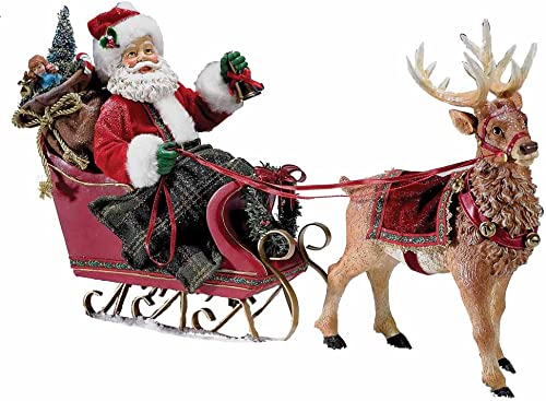 Kurt Adler Fabrich 10-Inch Santa in Sleigh with Deer Tablepiece