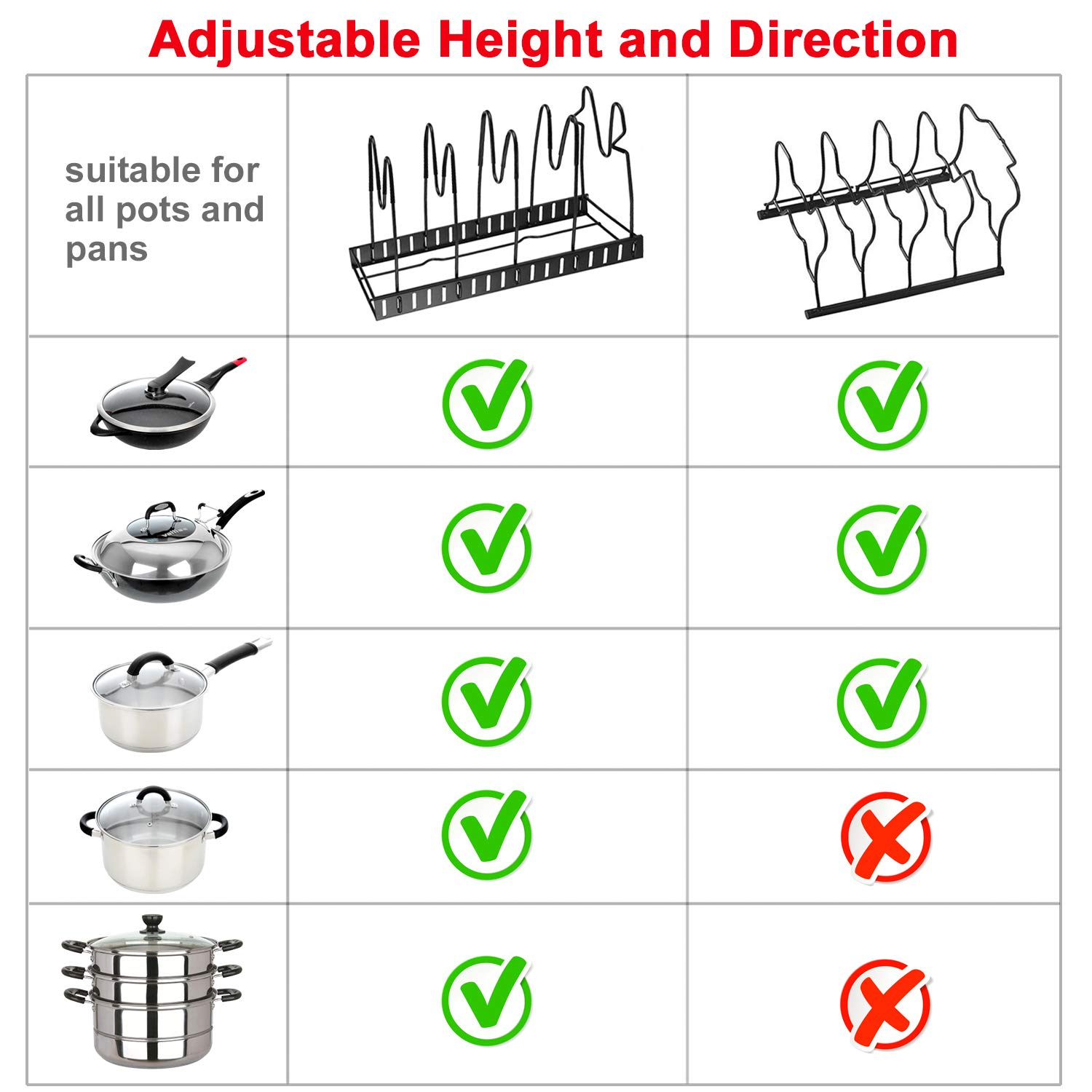 Pot Rack Organizers, G-TING 8 Tiers Pots and Pans Organizer, Adjustable Pot Lid Holders & Pan Rack for Kitchen Counter and Cabinet, Lid Organizer for Pots and Pans With 3 DIY Methods(2019 Upgraded) by G-TING (Image #6)