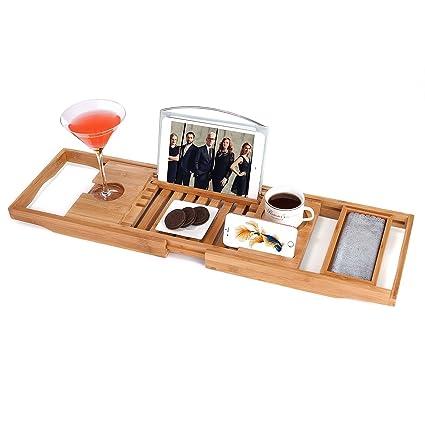 Amazon.com: Utoplike Luxury Bamboo Bathtub Caddy and Bathtub tray ...