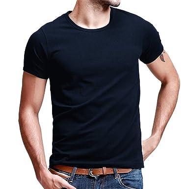 Sdheijky Fashion Men S Blank Tee Shirts Casual Basic Slim Fit Plain