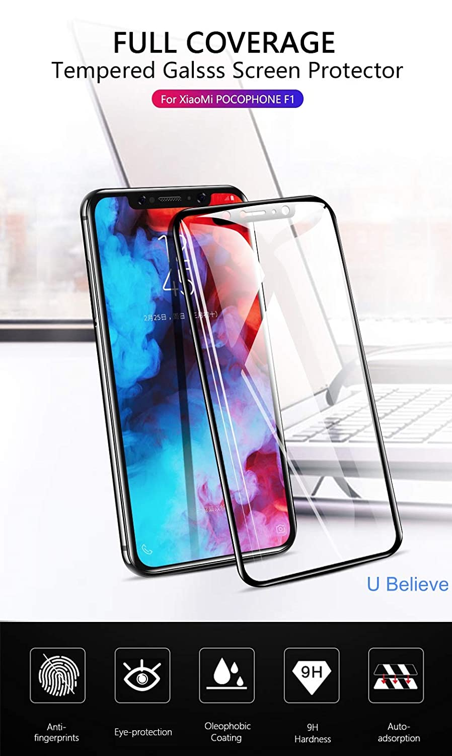 U Believe Real Time Protection 6d Tempered Glass For Mi Full Xiaomi Pocophone F1 Electronics