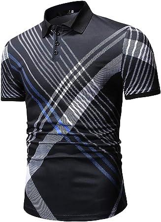 W&TT Hombres Casual Rayas Manga Corta algodón Polo Camisa Verano Hombre Transpirable Business Camisetas,Black,XL: Amazon.es: Hogar