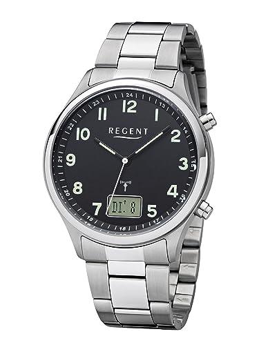 Regent - Reloj de pulsera hombre radio reloj de acero inoxidable analógico digital cuarzo correa de acero de plata BA 445: Amazon.es: Relojes