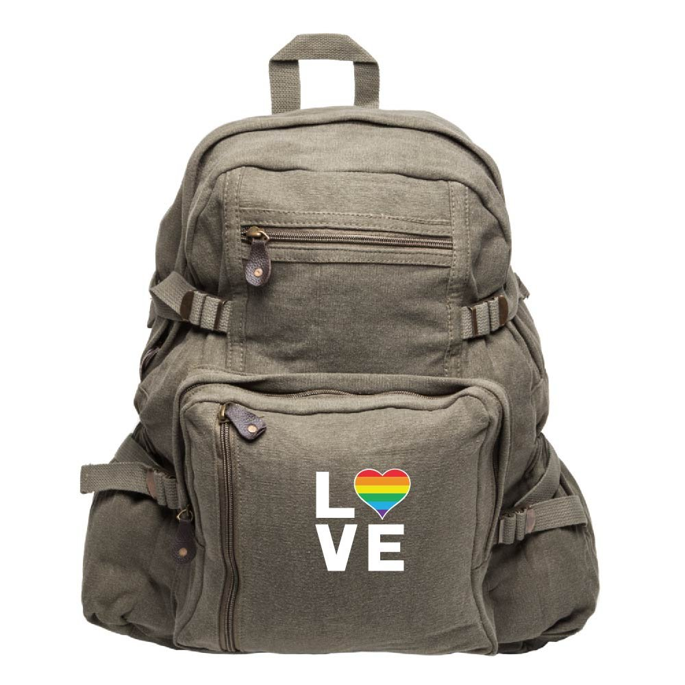 LGBT Love (Rainbow Heart) Sport Heavyweight Backpack Bag in Olive & White, Large