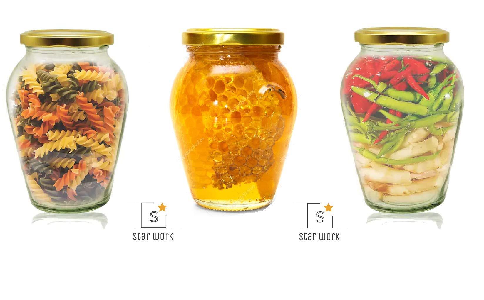 Amazon price history for 1000 ML Big Pot Glass Jar for Pickle Storage Dried Masla,Grocery,Grain Storage Jar (3)